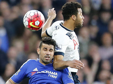 File picture of Diego Costa (L) and Mousa Dembele. AP