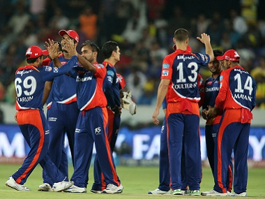 Delhi Daredevils players celebrate the fall of a wicket. BCCI