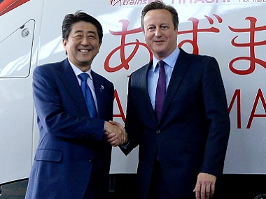 UK Prime Minister David Cameron and Japanese Prime Minister Shinzo Abe. Reuters
