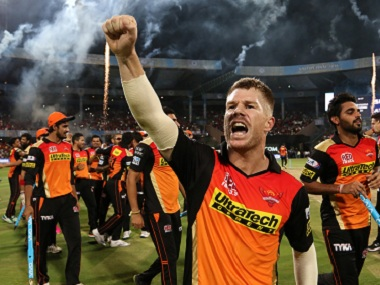 Sunrisers Hyderabad captain David Warner celebrates after his team's IPL triumph. BCCI