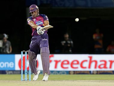 MS Dhoni scored 12 runs from the last two balls to lead RPS to a four-wicket win over KXIP. SportzPics/IPL