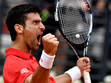 Novak Djokovic reacts in the match against Rafael Nadal. AFP