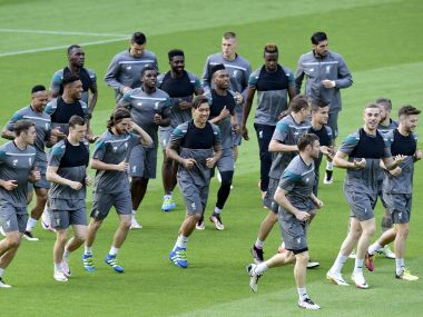 Liverpool players train in Basel ahead of Europa League final. AFP