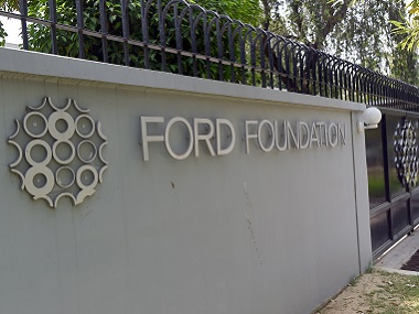 The Ford Foundation logo is pictured outside its office in New Delhi. AFP