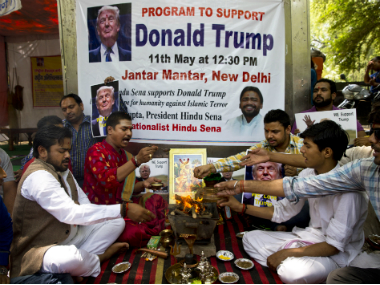 Activists of right-wing Hindu Sena or Hindu Army conducted havan to ensure a win for Republican presidential candidate Donald Trump in New Delhi on Wednesday. AP