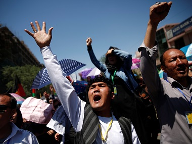 Demonstrators from Afghanistan's Hazara minority attend a protest in Kabul on Monday. Reuters