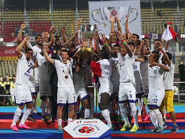 Chennaiyin FC celebrate becoming ISL season 2 champions. ISL
