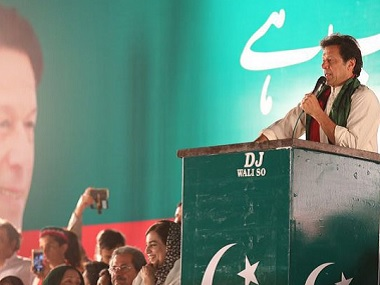 Imran Khan at the Tehreek-i-Insaf rally in Lahore. Twitter @ShoaibPTI_PP147