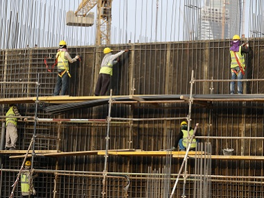 Indian labourers work at the construction site of a building in Riyadh. File photo. Reuters