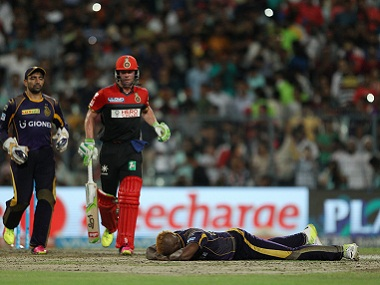 Andre Russell of KKR in agony against RCB. BCCI