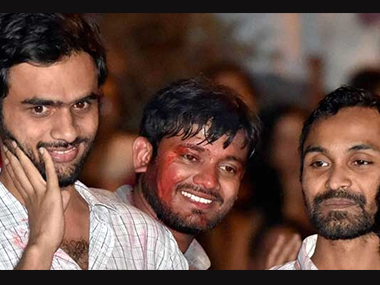 File photo of Kanhaiya Kumar, Umar Khalid and Anirban Bhattacharya. PTI