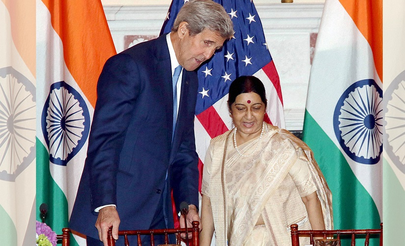 File image of Sushma Swaraj and John Kerry. PTI