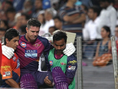 Kevin Pietersen hobbled off the pitch with a calf injury. BCCI