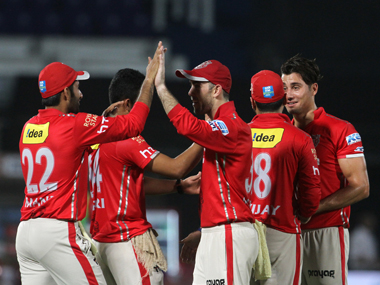 Kings XI Punjab players celebrating. BCCI