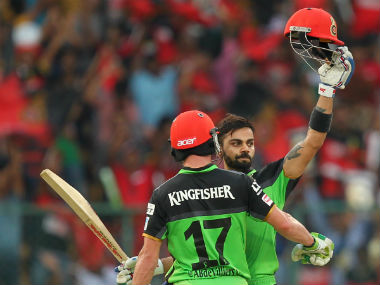 Virat Kohli (right) and AB de Villiers smashed centuries, adding 229 runs for the second wicket in a record stand. Sportzpics/IPL