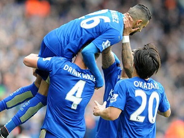Leicester City players celebrate a goal. AP