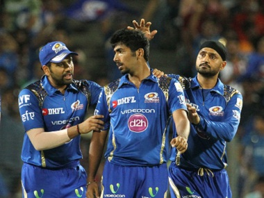Mumbai Indians players celebrate a wicket. BCCI