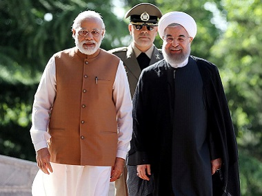 Prime Minister Narendra Modi with Iran President Hassan Rouhani (R) in Tehran. Reuters