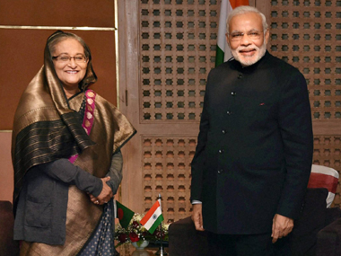 A file photo of Sheikh Hasina with PM Modi. PTI