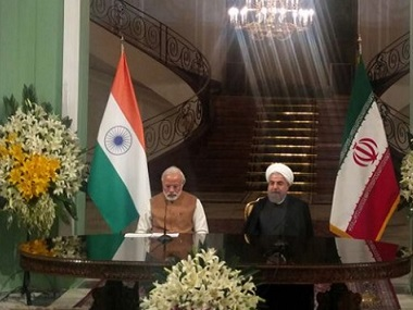 Indian PM Narendra with his Iran President Rouhani. Image courtesy Twitter MEAIndia