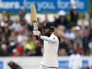Moeen Ali celebrates his 150 during day two of the 2nd Investec Test match between England and Sri Lanka. Getty