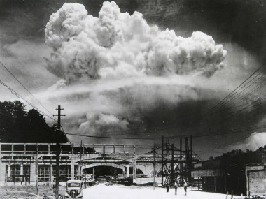 View of the radioactive plume from the bomb dropped on Nagasaki City, as seen from 9.6 km away, in Koyagi-jima, Japan, August 9, 1945. Getty images