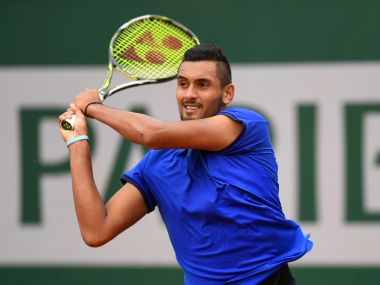 Nick Kyrgios of Australia during the match against Marco Cecchinato. Getty Images