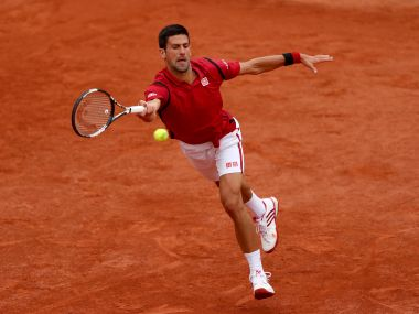 Top seed Novak Djokovic of Serbia playing at the French Open. Getty