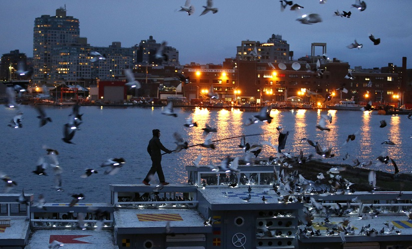 Artist Duke Riley rouses some of the 2,000 pigeons wearing LED lights to fly above their coops. AP