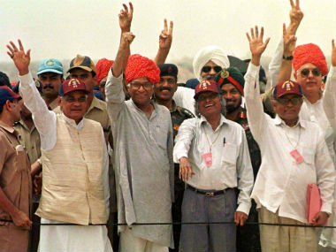 File photo of former PM Vajpayee, Defence Minister George Fernandes, APJ Abdul Kalam, and R Chidambaram after the tests. Reuters