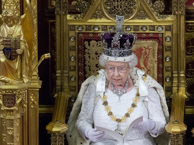 Britain's Queen Elizabeth II delivers the Queen's Speech during the State Opening of Parliament in central London. Reuters