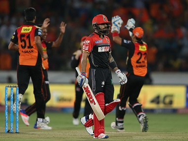 Royal Challengers Bangalore captain Virat Kohli leaves the field after losing his wicket against the Sunrisers Hyderabad. BCCI