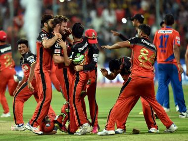 Royal Challengers Bangalore players celebrate their win over Gujarat Lions. PTI