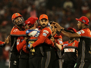 Royal Challengers Bangalore players celebrate a wicket. BCCI