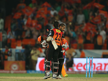 Naman Ojha of Sunrisers Hyderabad and Shikhar Dhawan of Sunrisers Hyderabad celebrate as Sunrisers Hyderabad beat Gujarat Lions by 5 wickets during match 34 of the Vivo IPL 2016 (Indian Premier League) between the Sunrisers Hyderabad and the Gujarat Lions held at the Rajiv Gandhi Intl. Cricket Stadium, Hyderabad on the 6th May 2016 Photo by Shaun Roy / IPL/ SPORTZPICS