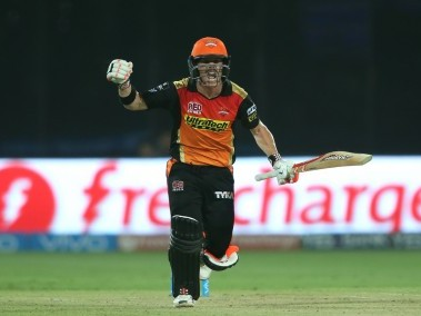 Sunrisers Hyderabad captain David Warner celebrates after hitting the winning runs. BCCI