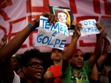 Protest against Brazil's acting president Michel Temer