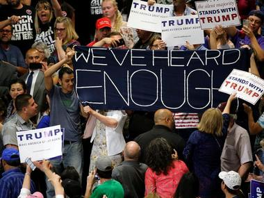 Donald trump's rally disrupted by protests