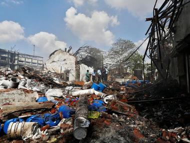 The site of an explosion at a chemical factory in an industrial area in Dombivali on 26 May. Reuters