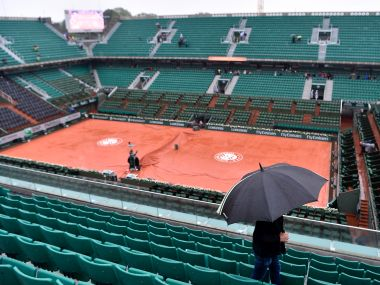Prolonged heavy rain prevents play from starting on day nine of the French Open. Getty