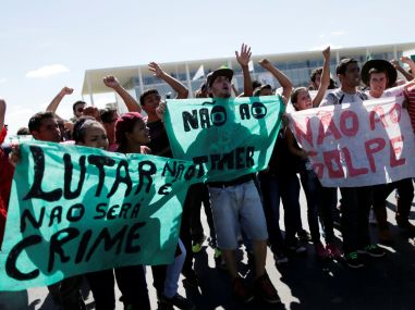 Demonstrators during the Olympic Flame torch relay. Reuters