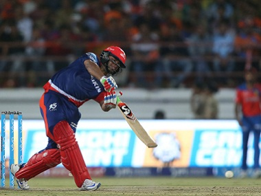 Rishabh Pant of Delhi Daredevils drives during the match against Gujarat Lions. BCCI