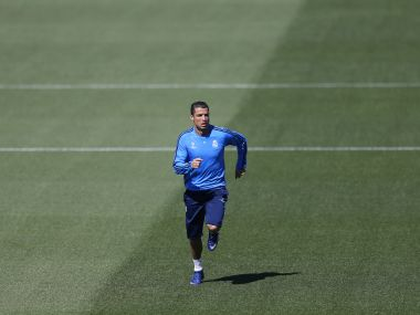 Real Madrid's Cristiano Ronaldo runs during a training session. AP