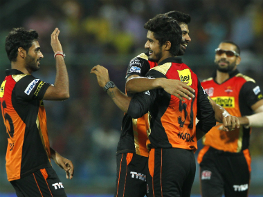SRH players celebrate the fall of a KKR wicket. Sportzpics/IPL