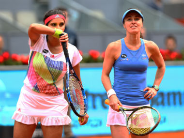 Sania Mirza (left) and Martina Hingis. Getty Images