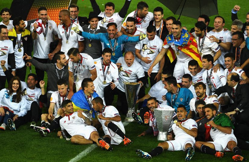 Sevilla players celebrate their third Europa League title. Getty Images