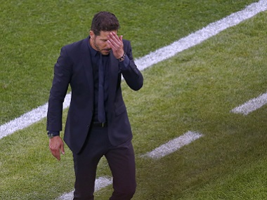 Atletico Madrid coach Diego Simeone following the Champions League final defeat to Real Madrid. Reuters