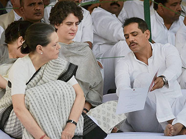 Congress President Sonia Gandhi with daughter Priyanka and son-in-law Robert Vadra. File photo. PTI