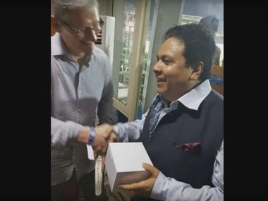 Apple CEO Tim Cook was in fact so impressed with the spectacle that he gifted Rajiv Shukla a brand new iPhone. Image courtesy: screenshot from YouTube video