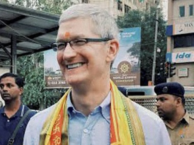 Apple' CEO Tim Cook outside Siddhivinayak Temple in Mumbai on Wednesday. PTI